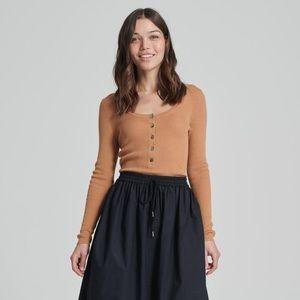 Naadam Summer Silk Cashmere Knit Henley Top Shirt